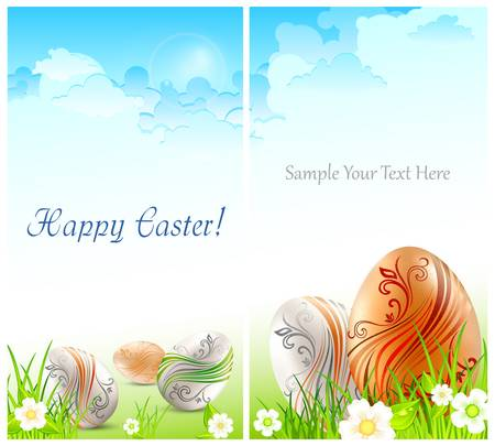Easter card, eggs with flowers on green grass   text,  illustration Stock Vector - 17728190