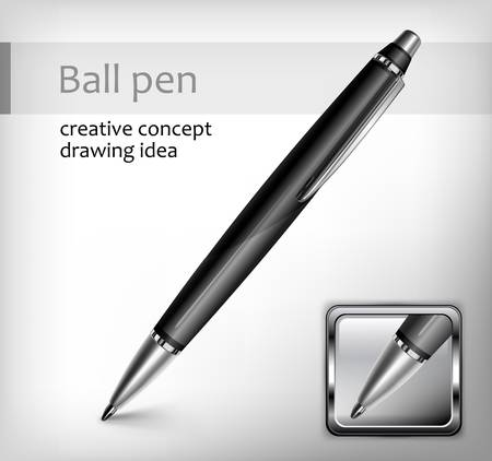 ball pens stationery: Negro pluma, icono y texto, concepto creativo, ilustración