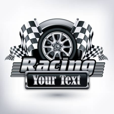Racing emblem, crossed checkered flags, wheel text on white, illustration