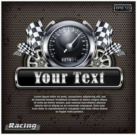cuadros blanco y negro: Racing emblema, velocímetro, banderas a cuadros y ruedas en negro, ilustración
