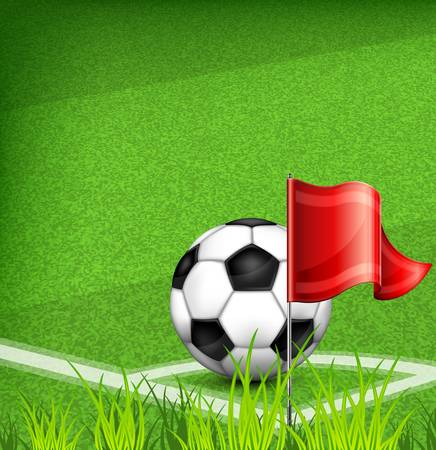 pitch: Black-and-white leather football (soccer) ball on corner of field and flag,  illustration