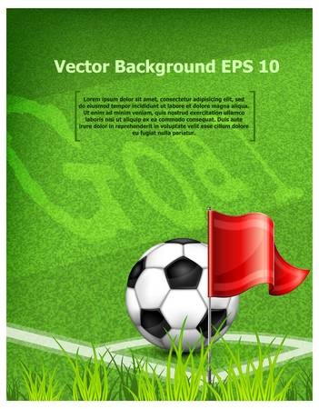 footie: Black-and-white leather football (soccer) ball near corner flag and text,illustration