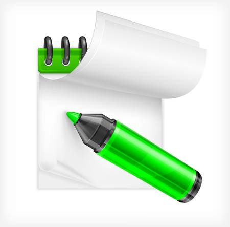 Green highlighter and notebook isolated Vector