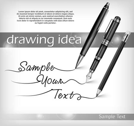 Ball pen, pencil, fountain pen signs and text, vector illustration Illustration