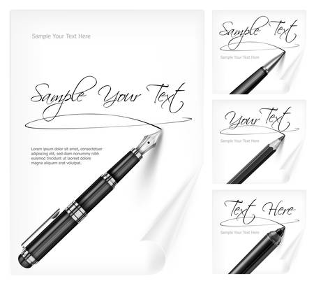 Black writing tools and white paper sheet with signs   text, vector illustration