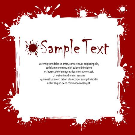 inkblots: Text on white red background with inkblots, vector illustration
