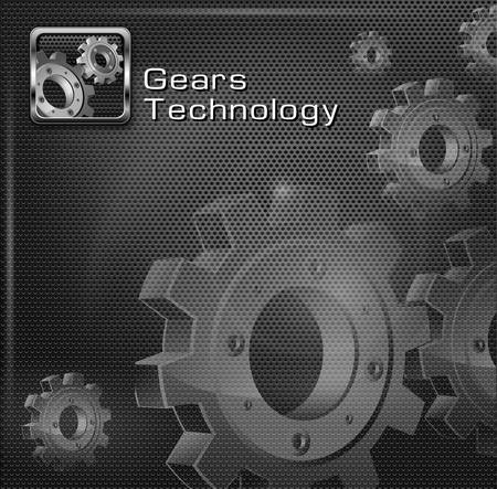 cogs and gears: Metallic gears on dark mesh background   text, vector illustration