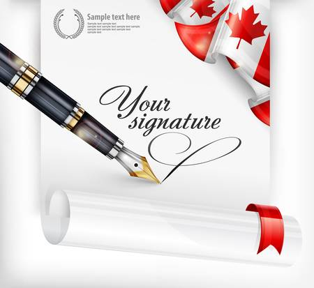 Canadian blank, paper sheet with national flag, fountain pen and text, vector illustration Vector