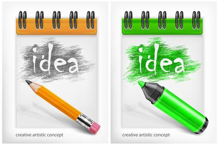pen and marker: Notebook with pencil, highlighter and word idea, vector illustration