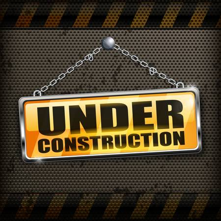 vector sign under construction: Under construction sign yellow on black background, vector illustration
