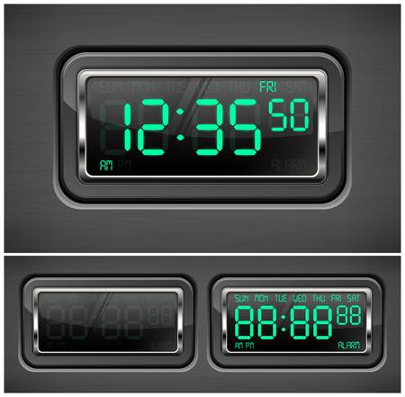 digital clock: Digital watch black with green dial, vector illustration