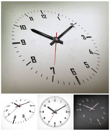 pm: round dial with arabic numerals on gray background, vector illustration