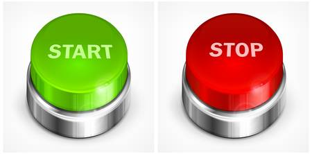 Button with words start and stop on white background, vector illustration