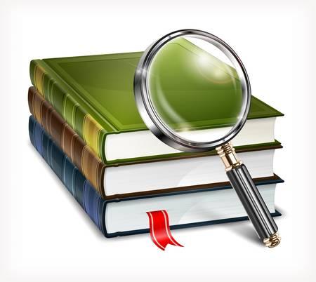 učebnice: Nové knihy a zvětšovací sklo na bílém pozadí, vektorové ilustrace Ilustrace