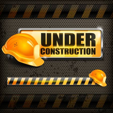 Under construction sign yellow   helmet on black background, vector illustration Vector