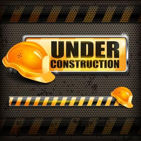 Under construction sign yellow   helmet on black background, vector illustration Stock Vector - 18845082