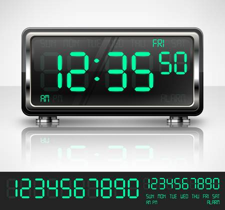Digital watch black with green dial on white, vector illustration Stock Vector - 18845081