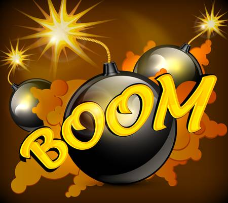 Round black bomb with burning cord   Stock Vector - 18962063
