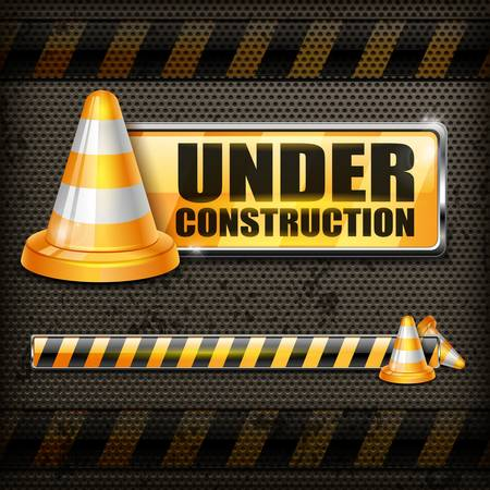traffic cone: Under construction sign   Illustration