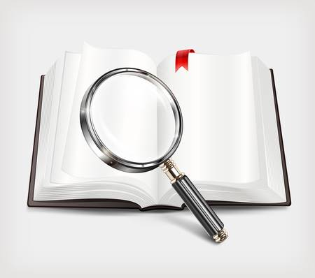 bibliography: Open book and magnifying glass  Illustration