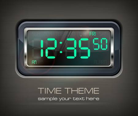 digital clock: Digital watch black with green dial & text  Illustration