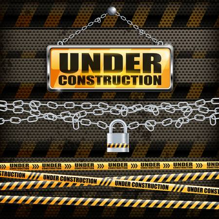 vector sign under construction: Under construction sign yellow and lock on black background, vector illustration