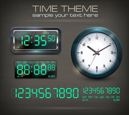 Wall clocks and electronic dial on black, vector illustration