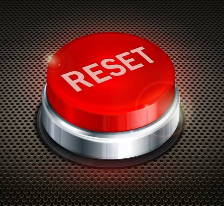 Red button with words reset on black background, vector illustration