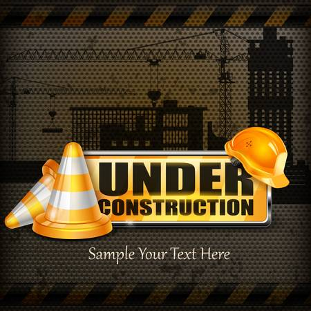construction background: Under construction sign yellow   traffic cones, helmet on black, vector illustration, Under construction sign yellow   traffic cones, helmet on black, vector illustration Illustration