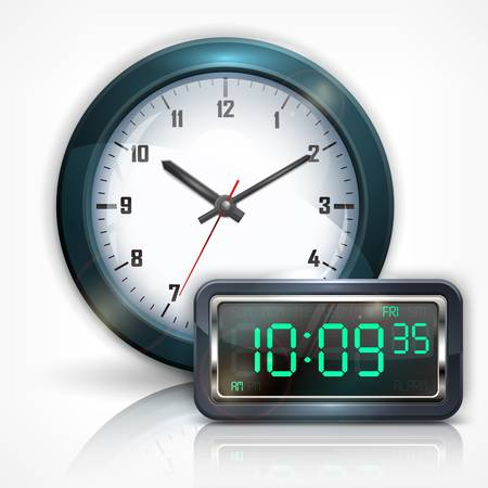 digital clock: Wall clocks and electronic dial on white, vector illustration