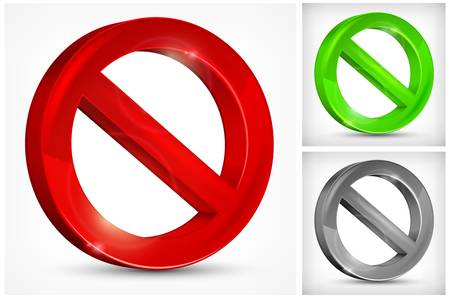 red slashed circle on white background, vector illustration