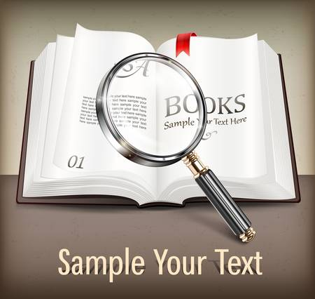 bookshop: Open book and magnifying glass on dark table   text, vector illustration