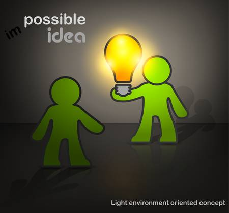 possible: Man with bulb darck, creative idea possible, vector cartoon illustration Illustration