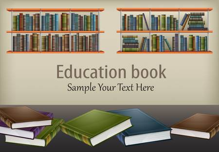 bibliography: New books on table and on shelves   text, vector illustration Illustration