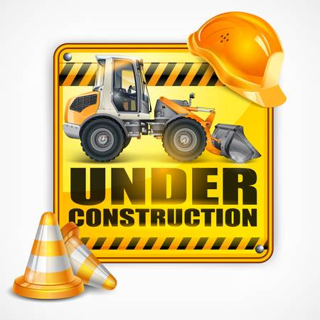 vector sign under construction: Under construction sign square   tractor, on white, vector illustration, Under construction sign square   tractor, on white, vector illustration