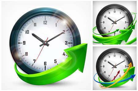 Round wall clock with green arrows on white background, vector illustration Stock Vector - 19589131