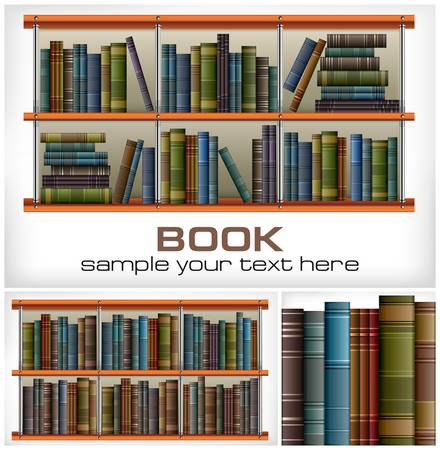 books library: New books on shelves   text on white, vector illustration