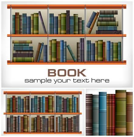 estanter�as: Nuevos libros en los estantes de texto en blanco, ilustraci�n vectorial