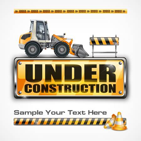 excavator: Under construction sign   tractor, on white, vector illustration
