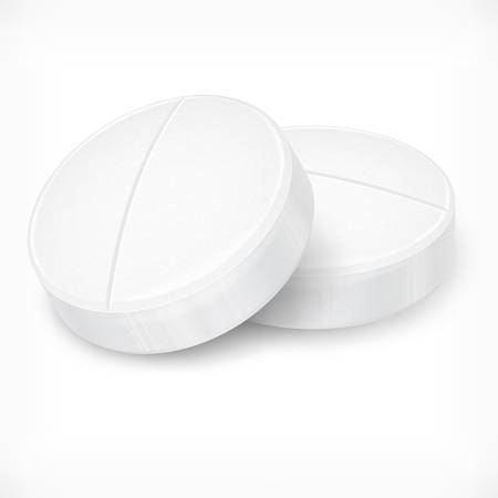 white pills: Round pills isolated on white background, vector illustration
