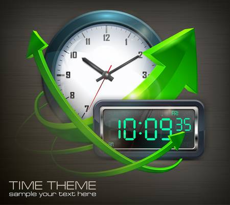 Wall clock and electronic dial with arrows on black, vector illustration Stock Vector - 19589143