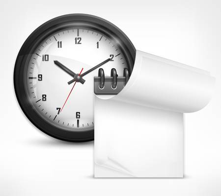 arabic numerals: round clock with arabic numerals and white notebook, vector illustration