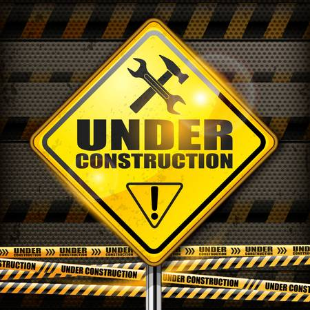 Under construction sign yellow rhombus on black background,  illustration Stock Vector - 19840939