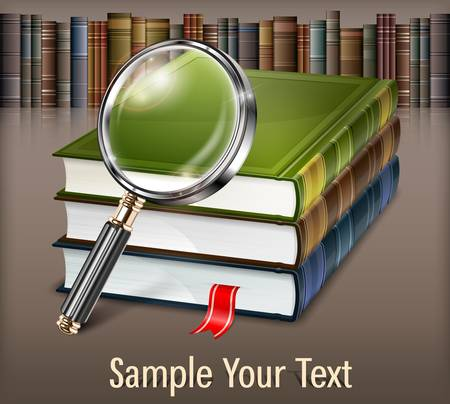 New books and magnifying glass on table, illustration Vector