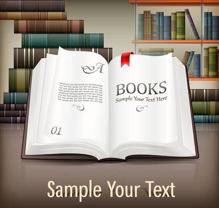 history book: New books open with text on desk, illustration Illustration
