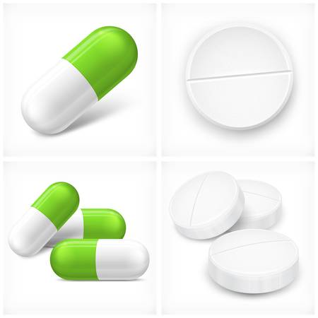 Different pills, tablet and capsule, on white, vector illustration