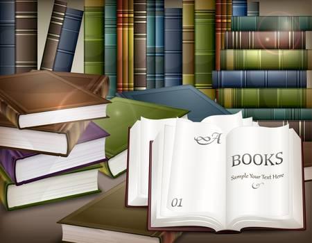 bookstore: New book stacks and open on desk,  illustration Illustration