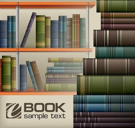 book shelves: New book stacks on shelf and desk, vector illustration