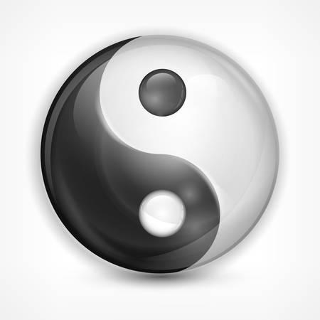 yan: Yin yang symbol isolated on white, vector illustration