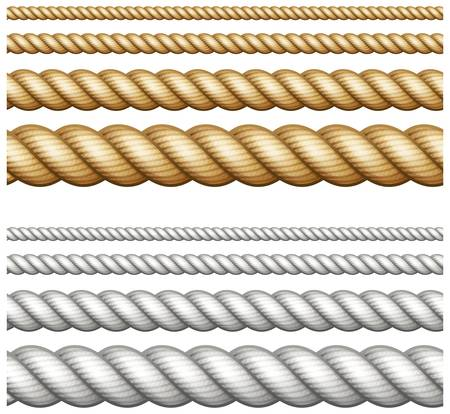 Set of different thickness ropes isolated on white, vector illustration